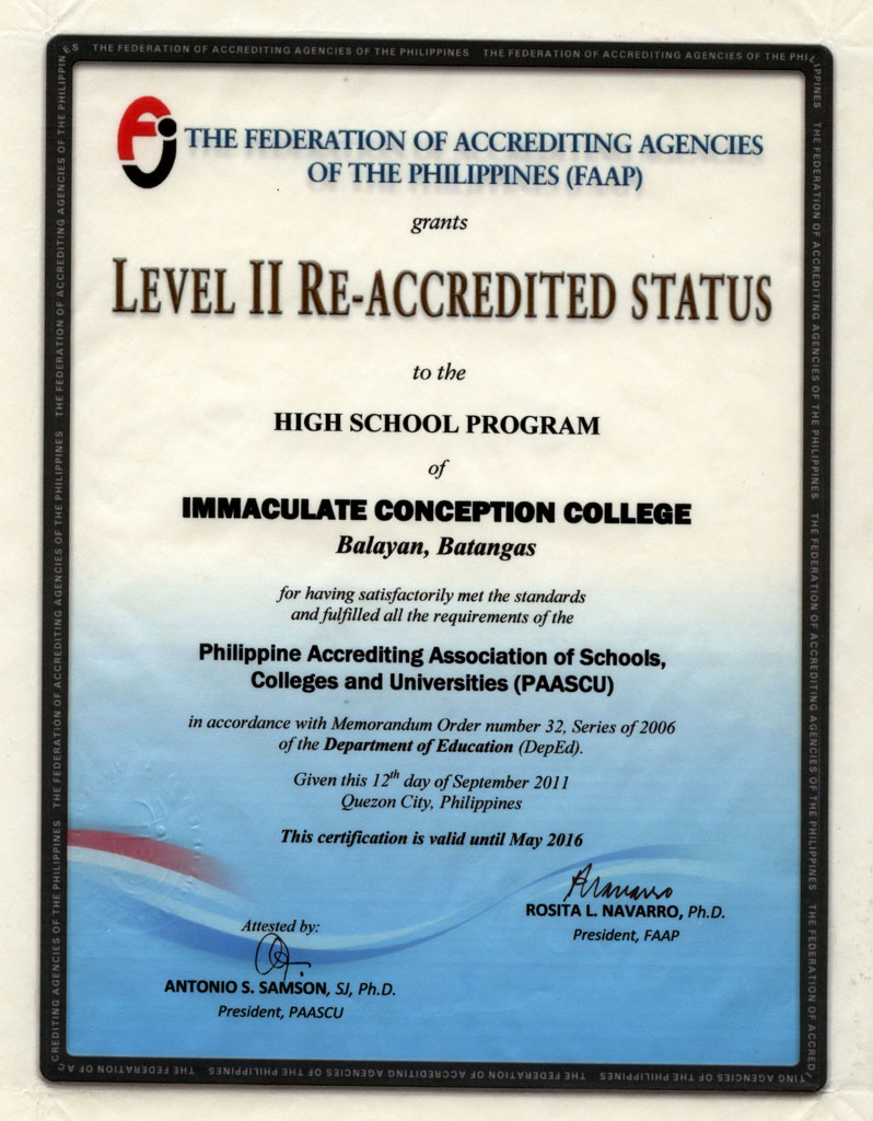 Accreditations Immaculate Conception College Balayan Batangas